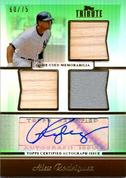 Alex Rodriguez Certified Autograph Jersey and Bat Card