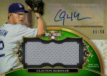 2013 Topps Clayton Kershaw Autograph Game Worn Jersey Baseball Card