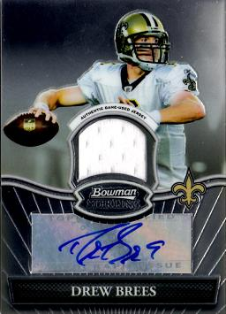 Drew Brees Autograph Game Worn Jersey Card