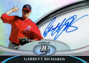 2011 Bowman Platinum Refractor Garrett Richards Certified Autograph Baseball Card