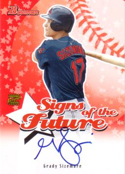 Grady Sizemore Authentic Autograph Card