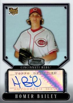 2007 Bowman Sterling Homer Bailey Autograph Baseball Card
