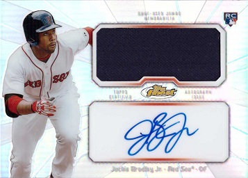 2013 Topps Finest Relics Jackie Bradley Jr. Certified Autograph Game Worn Jersey Baseball Rookie Card