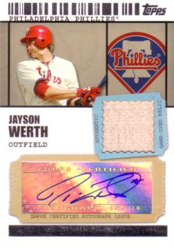 Jayson Werth Authentic Autograph Bat card