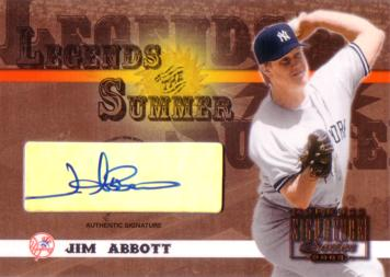 Jim Abbott Certified Autograph Card