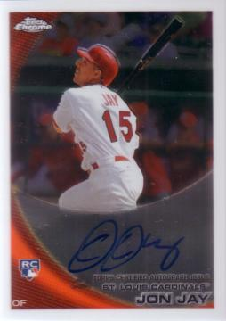 2010 Topps Chrome Jon Jay Autograph Rookie Card