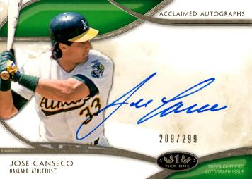Jose Canseco Autograph Card