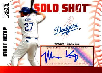 Matt Kemp Certified Autograph Baseball Card