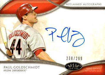 2012 Topps Tier One Paul Goldschmidt Autograph Baseball Card