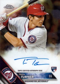 2016 Topps Chrome Baseball Trea Turner Autograph Baseball Rookie Card
