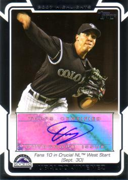 Ubaldo Jimenez Authentic Autograph Card
