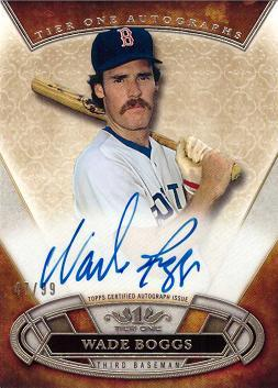 2015 Topps Tier One Wade Boggs Certified Autograph Baseball Card