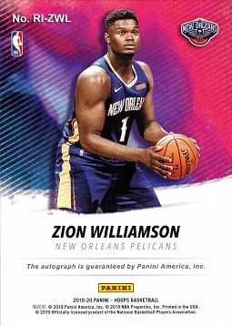 Back of Zion Williamson Autograph Card