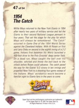 Back of Willie Mays card