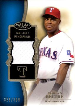 Adrian Beltre Game Worn Jersey Baseball Card