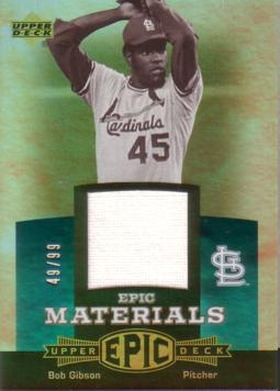 Bob Gibson Game Worn Jersey Card