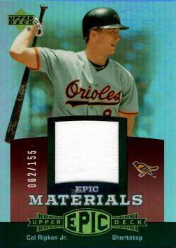 2006 Upper Deck Epic Cal Ripken Game Worn Jersey Baseball Card