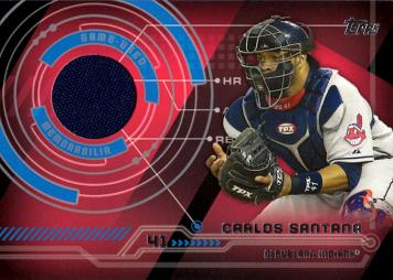 Carlos Santana Game Worn Jersey Baseball Card
