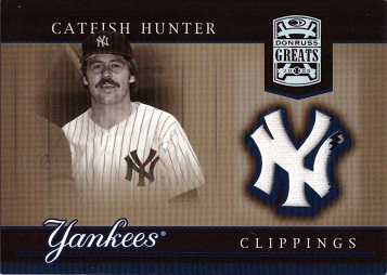 Catfish Hunter Game Worn Jersey Baseball Card