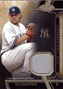 C.C. Sabathia Game Worn Jersey Baseball Card