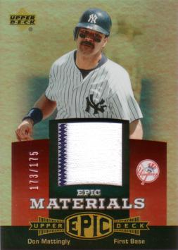 Don Mattingly Game Worn Jersey Card