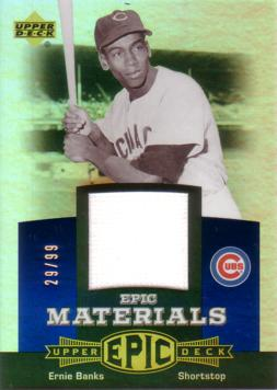 Ernie Banks Game Worn Jersey Card