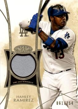 2014 Topps Tier One Relics Hanley Ramirez Game Worn Jersey Baseball Card