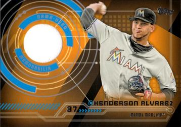Henderson Alvarez Game Worn Jersey Baseball Card