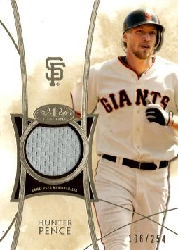2014 Topps Tier One Relics Hunter Pence Game Worn Jersey Baseball Card
