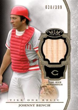 Johnny Bench Game Used Bat Card