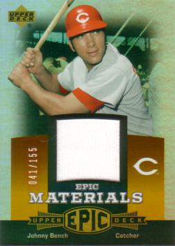 Johnny Bench Game Worn Jersey Card