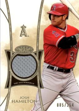 2014 Topps Tier One Relics Josh Hamilton Game Worn Jersey Baseball Card