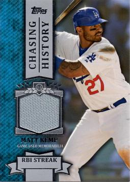 Matt Kemp Game Worn Jersey Card