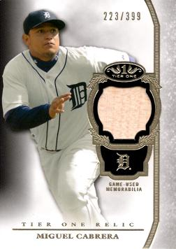 2013 Topps Tier One Relics Miguel Cabrera Game Used Bat Baseball Card