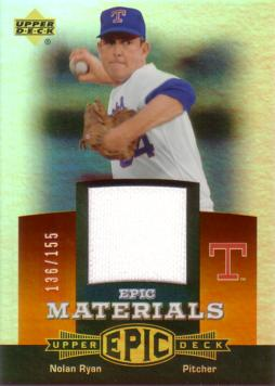 Nolan Ryan Game Worn Jersey Card