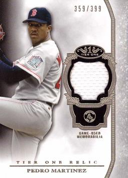 2013 Topps Tier One Pedro Martinez Game Worn Jersey Baseball Card