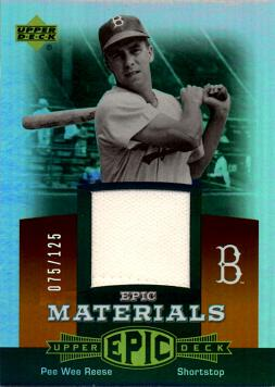 Pee Wee Reese Game Worn Jersey Baseball Card