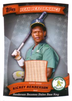 Rickey Henderson Game Used Bat Card