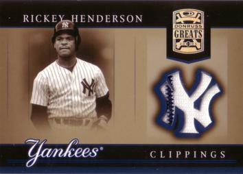 Rickey Henderson Game Worn Yankees Jersey Card