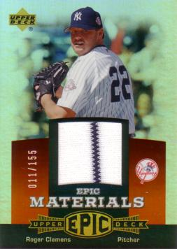 Roger Clemens Game Worn Jersey Card