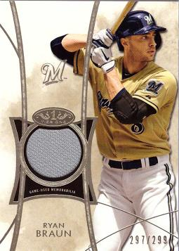 2014 Topps Tier One Relics Ryan Braun Game Worn Jersey Baseball Card