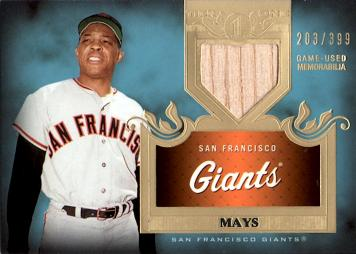2011 Topps Tier 1 Willie Mays Game Used Bat Relic Card
