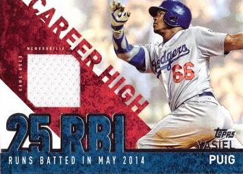 Yasiel Puig Game Worn Jersey Card