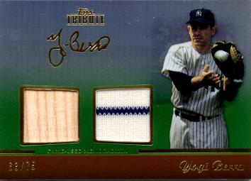 Yogi Berra Game Worn Jersey and Bat Card