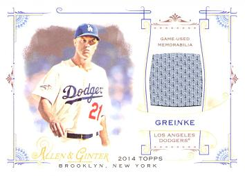 Zack Greinke Game Worn Jersey Card