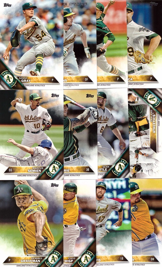 2016 Topps Athletics Baseball Card Team Set