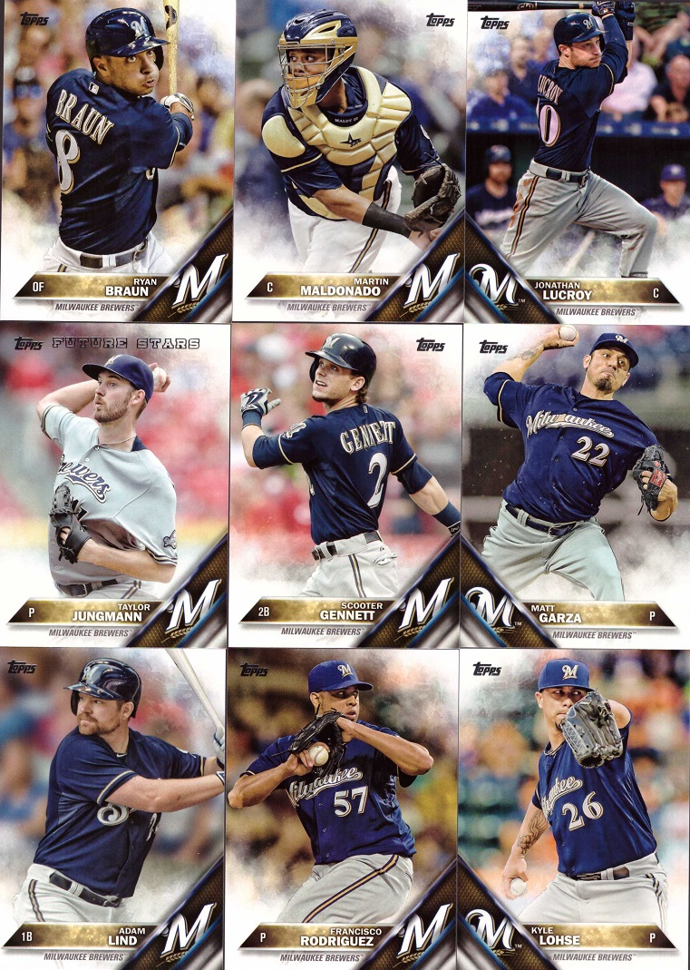 2016 Topps Brewers Baseball Card Team Set