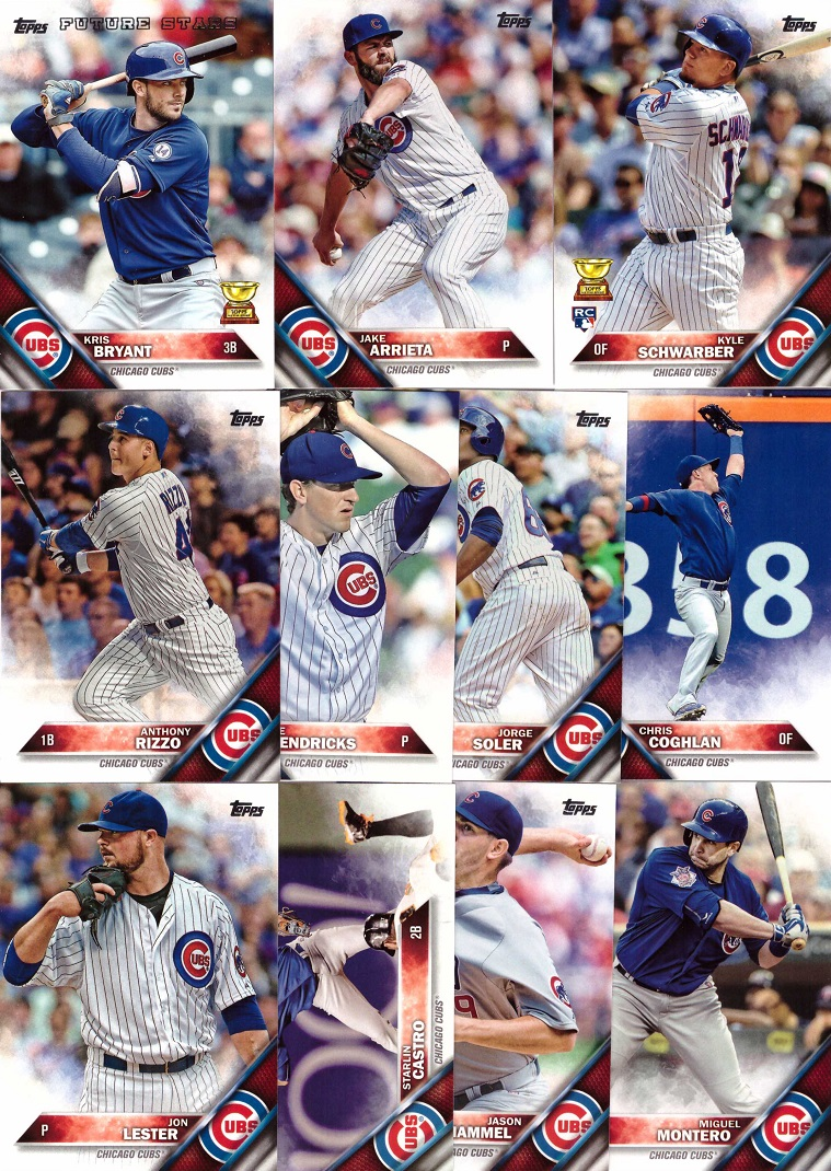 2016 Topps Cubs Baseball Card Team Set