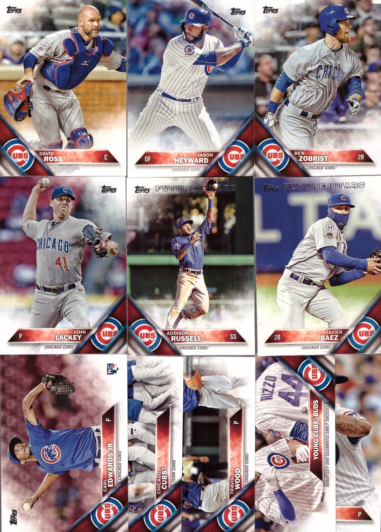 2016 Topps Chicago Cubs Series 2 Baseball Card Team Set