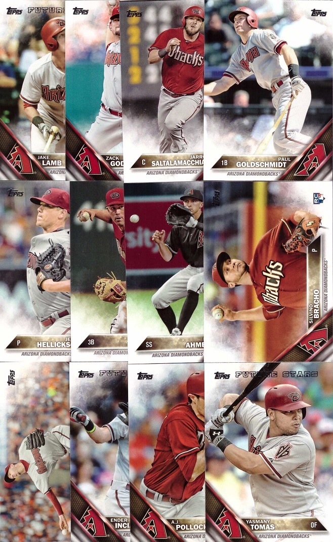 2016 Topps Diamondbacks Baseball Card Team Set